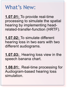 What¡¯s New:  1.07.01: To provide real-time processing to simulate the spatial hearing by implementing head-related-transfer-function (HRTF).   1.07.02: To simulate different hearing loss in two ears with two different audiograms.   1.07.03:  Hearing loss view in the speech banana chart.  1.08.01:  Real-time processing for Audiogram-based hearing loss simulation.